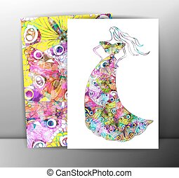 Fashion women in sketch style. Greeting card with abstract butterfly girl. Perfect for any other kind of design. Vector illustration, EPS10.