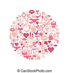 Valentines Day mosaic icons