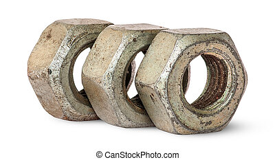 Three old rusty nuts in a row rotated