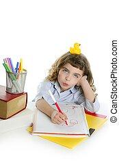 zabawny, Mały, student, dziewczyna, wirh, Żółty,...