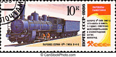 postage stamp shows vintage russian train - USSR - CIRCA...
