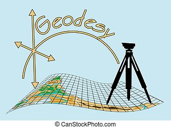geodesy  - geodesy. theodolite on tripod with abstract map