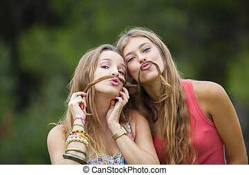 healthy young teens goofing about.