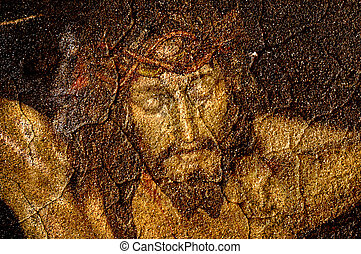 christ - figure of Jesus Christ on vintage background