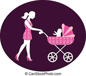 woman with a stroller - a woman with a baby carriage from...