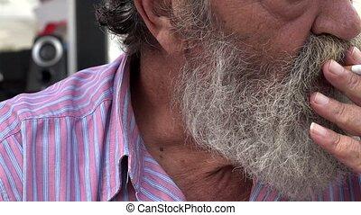 Bearded Old Man Smoking