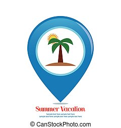 Summer Vacation - Abstract summer vacation object on a white...