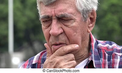 Confused And Worried Old Man