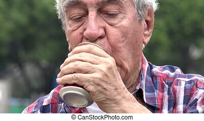 Depressed Alcoholic Senior Man