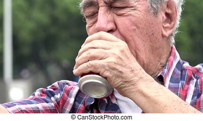 Alcoholic Old Man Drinking Beer