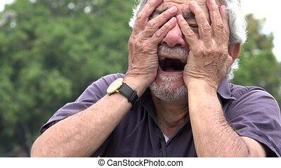 Sad Old Man Crying