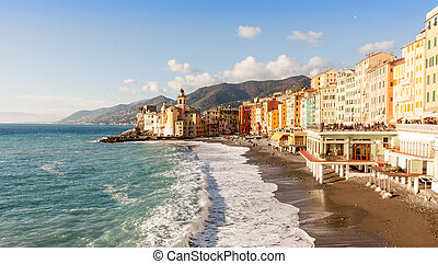 Church on the beach in Camogli, near Genoa, Italy