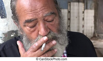 Old Man Smoking Depressed Beard