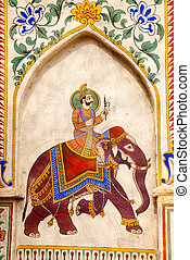 India - A painting of an Indian king on an elephant