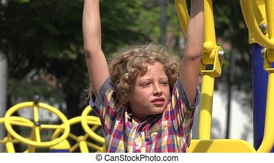 Boy Unable to Use Exercise Machine