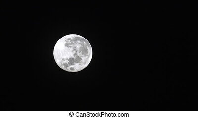 Full moon light in clear night sky.