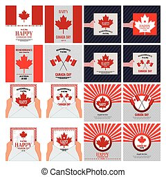 Canada Day - Abstract set of Canada day background with some...