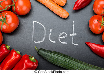 Diet Written Amidst Fresh Vegetables On Blackboard -...