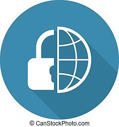 appartamento, sicurezza, globale, icona, disegno
