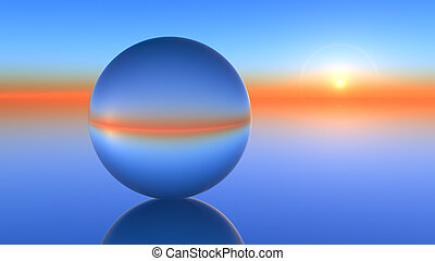 Glass Sphere Horizon - A glass orb on a horizon sunset
