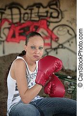 boxing city woman