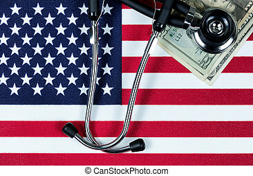Financial medical concept with stethoscope and money on the United States flag