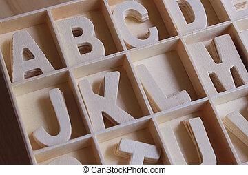 Scatola, legno, inglese,  set, alfabeto