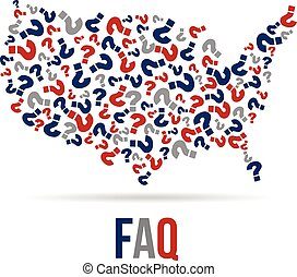 Frequently Asked Questions USA map. Vector design