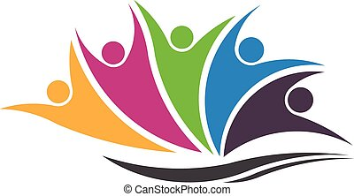 People Family logo - Five happy succesful people over a wave...