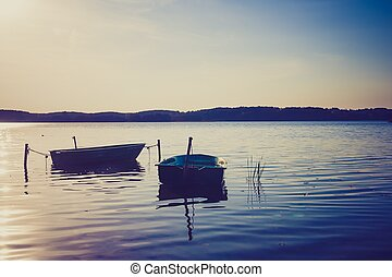 Vintage lake landscape with boats. - Lake landscape with...