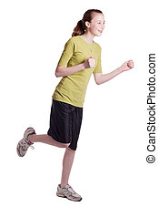 Jogging Girl - a young teenage girl running, isolated on...