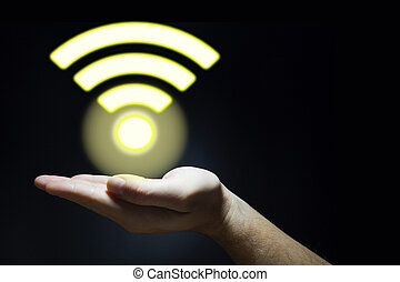 Hand holds a glowing lifi symbol - Hand holds a yellow...