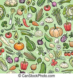 different vegetables drawings - seamless background made of...