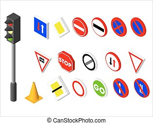 Isometric icons various road sign and traffic light European...