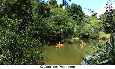 Kayaking over Matakana river - Panoramic landscape of Snells...