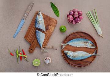 Prepare cooking traditional thai food preserved salted fish...