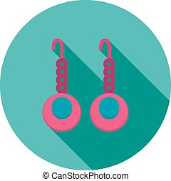 Earrings, beautiful, jewelry icon vector image Can also be...