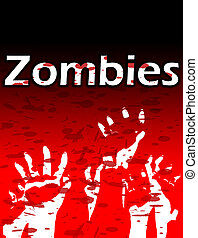 Zombie Hands - Lots of Zombie hands reaching upwards, with...
