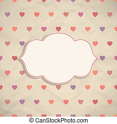 Frame on background with hearts