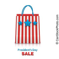 Shopping Bag in USA Patriotic Colors for Presidents Day Sale...