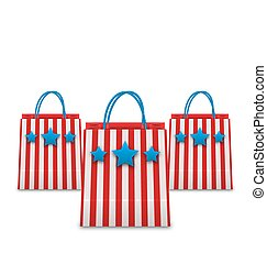 Shopping Bags in American Patriotic Colors. Packets Isolated on White Background