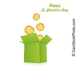 Open cardboard box with golden coins for St. Patrick's Day
