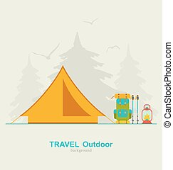 Travel Camping Background with Tourist Tent, Backpack,...