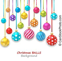 New Year Bckground with Set Colorful Christmas Balls -...