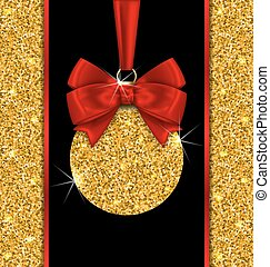 Glitter Card with Christmas Ball with Golden Surface