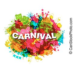 Carnival Splotch Abstract Grunge Watercolor Background
