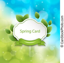 Abstract Spring Card with Eco Green Leaves and Ribbon on Glowing