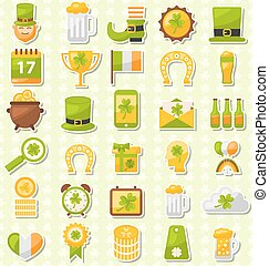 Modern Flat Design Icons for Saint Patrick's Day, Collection Holiday Irish Elements
