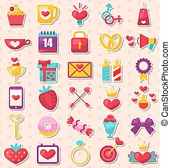 Set of Modern Flat Design Icons for Valentine's Day and Wedding