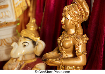Hindu god idol. Ganesh and lakshmi.